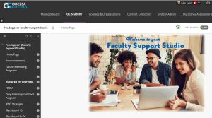 Screen image of Faculty Support Studio course in Blackboard Learning Management System