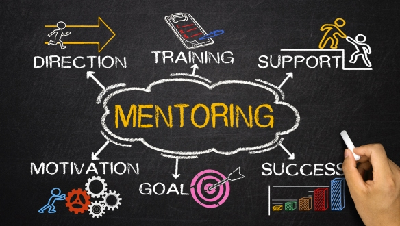 Bleakstar. (N.D.). Mentoring concept with business elements and related keywords on blackboard [Vector Image]. Retrieved from Shutterstock